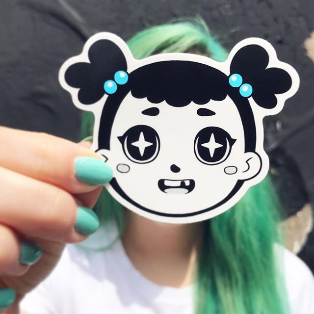 I'm working on updating my shop! I've got prints and stickers after harucon just gotta get them photographed. Should be up in a week so stay tuned. - #sticker #artistsoninstagram #greenhairdontcare