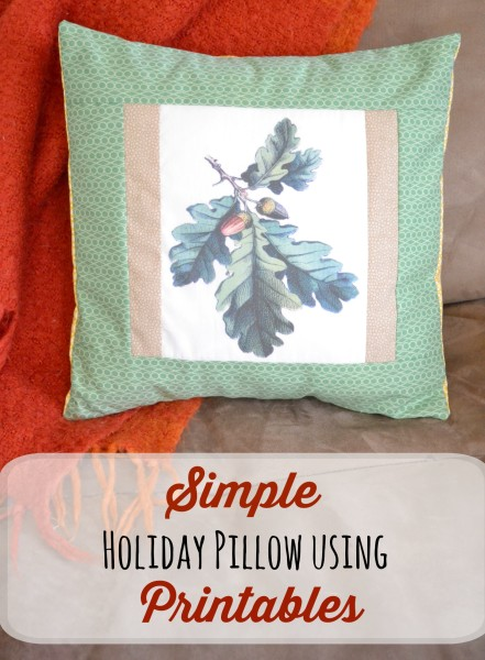 Simple Holiday Pillow Using Printables