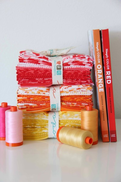 moda simply colorful with book and aurifil thread