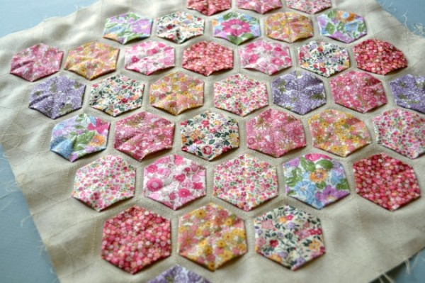 Close Up Sewn Hexies