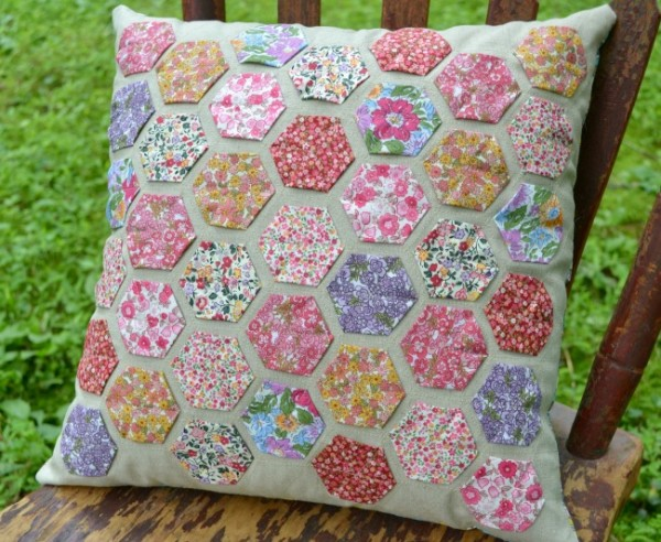 Easy Appliqued Hexie Pillow
