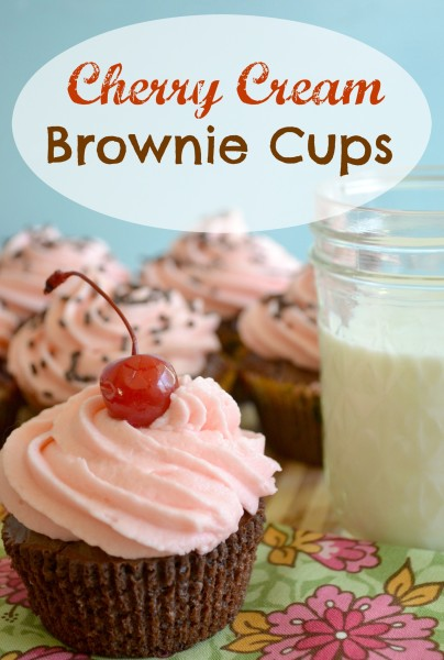 Cherry Cream Brownie Cups