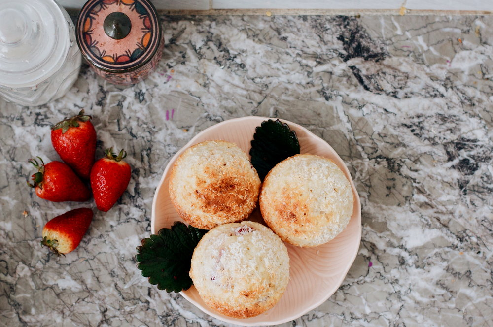 Strawberry Cardamom Coconut Muffins | via Ruby Josephine