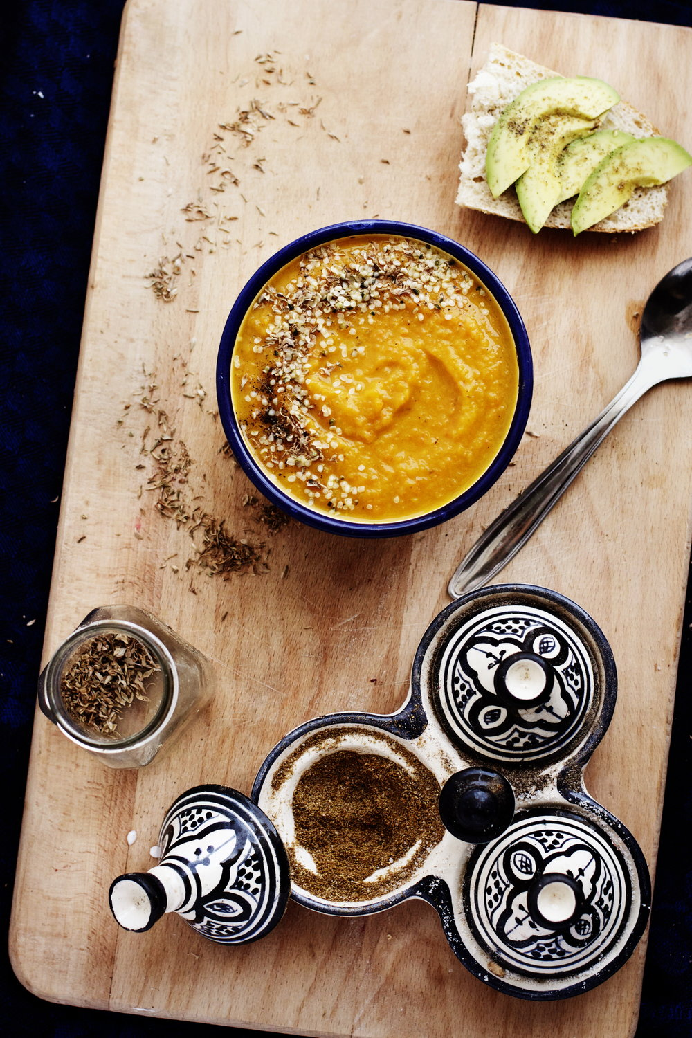 Turmeric + Ginger Roasted Root Vegetable Soup- hearty and warming for cool fall nights via rubyjosephine.com