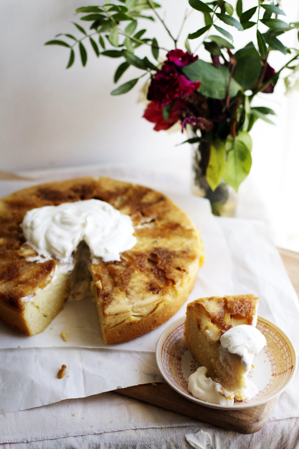 Apple Upside-Down Basbousa w/ Orange Blossom Cardamom Cream | Ruby Josephine