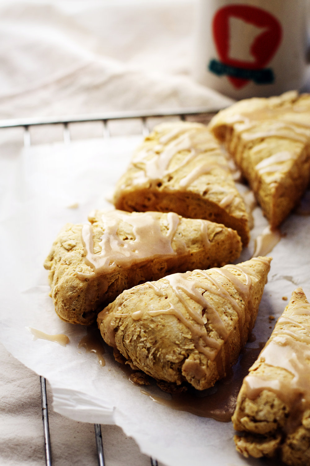 Pumpkin Spiced Scones with Maple Coffee Glaze (vegan) | Ruby Josephine