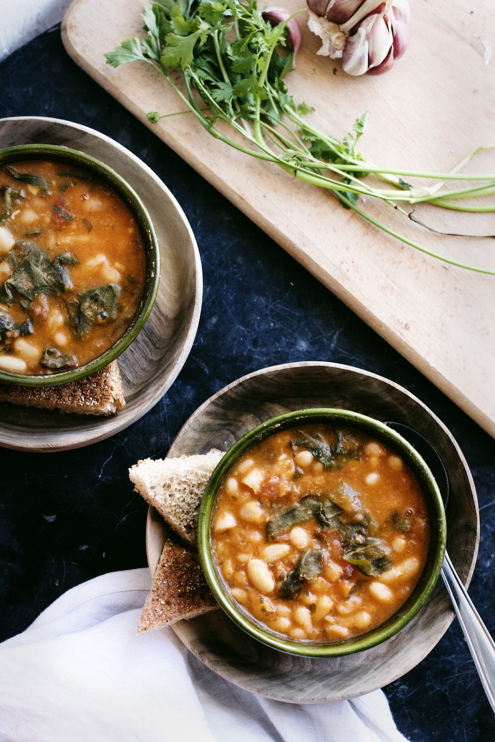Moroccan White Beans + Greens in Tomato Sauce (Loubia maa Silk) | Ruby Josephine