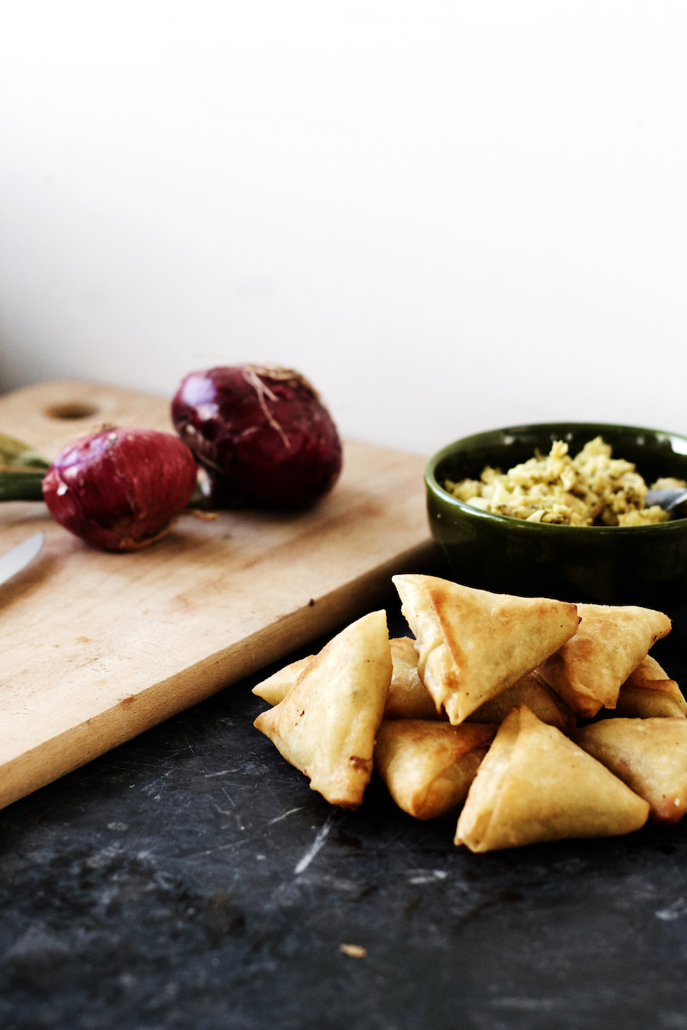 Moroccan Chicken + Egg Briouats (puff pastry filled with richly spiced chicken, onion + boiled eggs) | Ruby Josephine
