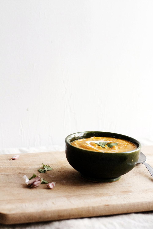 Sunny Coconut Carrot Sweet Potato Soup (vegan + gluten free) | Ruby Josephine