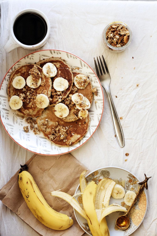 Banana Bread Chia + Chickpea Flour Pancakes | Ruby Josephine