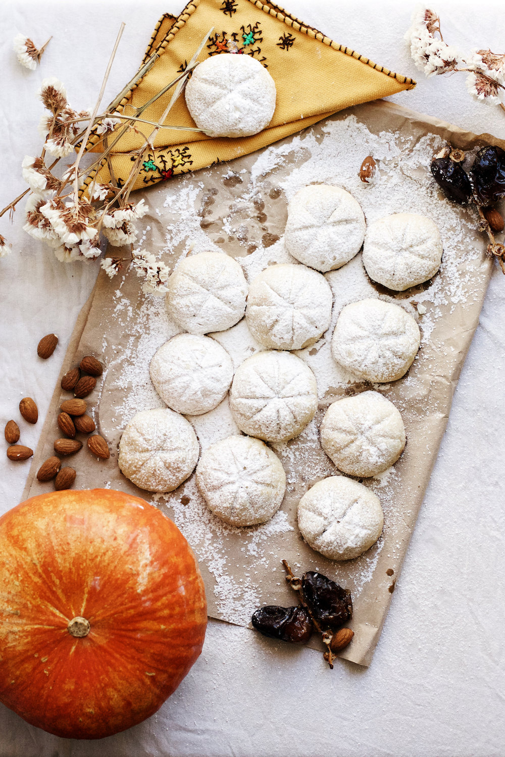 Pumpkin Date + Almond Butter Stuffed Moroccan Tea Cookies | Ruby Josephine