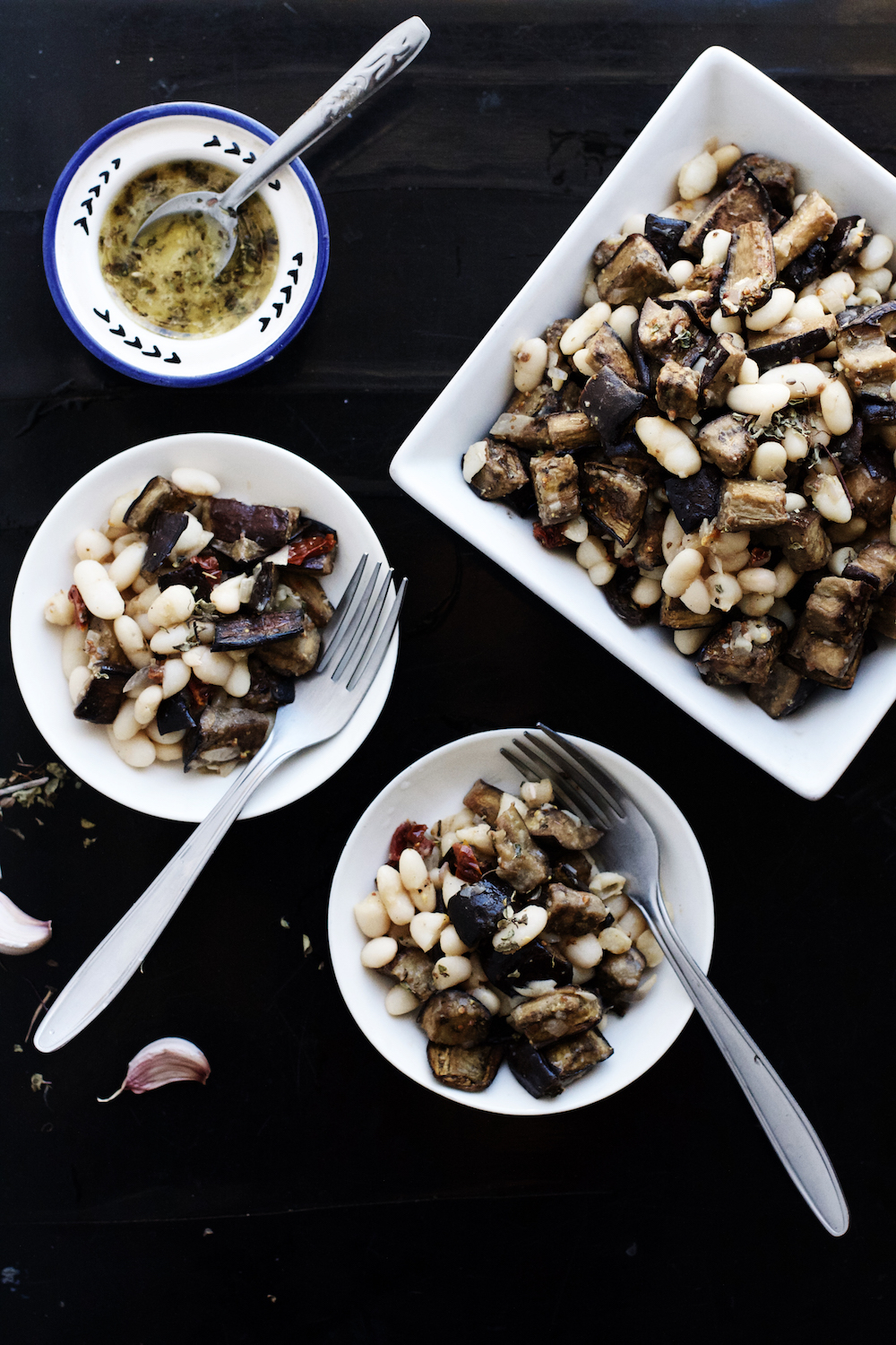 Warm White Bean + Eggplant Salad with Roasted Garlic + Oregano Vinaigrette (vegan + gf) | Ruby Josephine