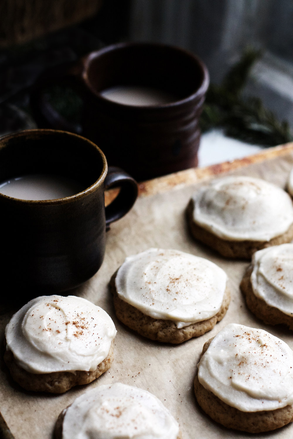 Vegan Frosted Eggnog Cookies | Ruby Josephine