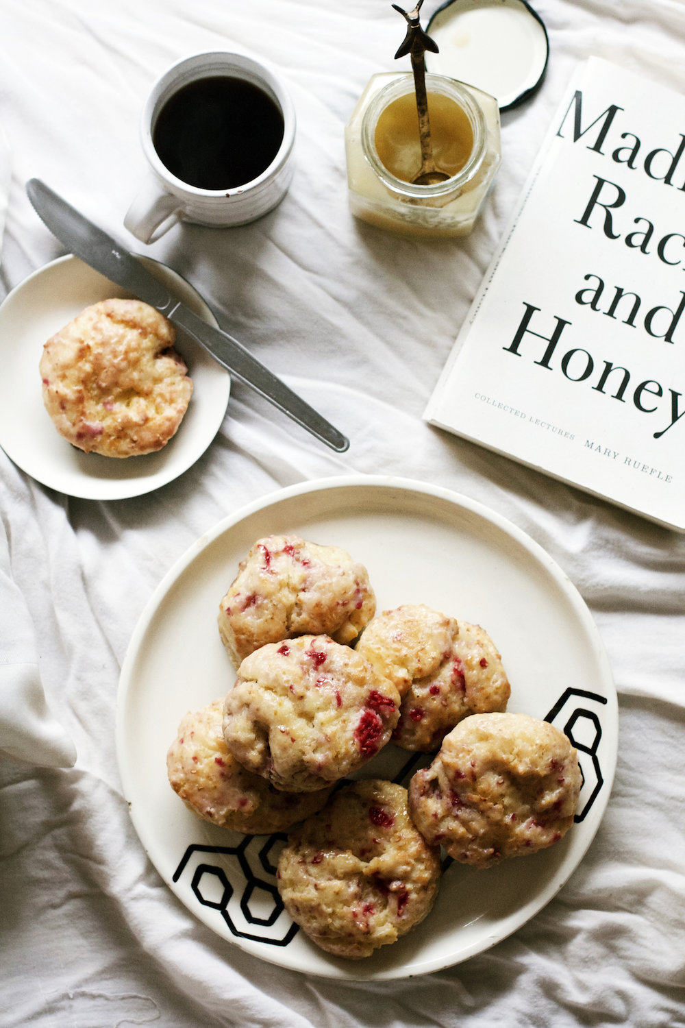 Honey-Glazed Raspberry Lemon Scones / Madness, Rack, + Honey / Books + Breakfast by Ruby Josephine