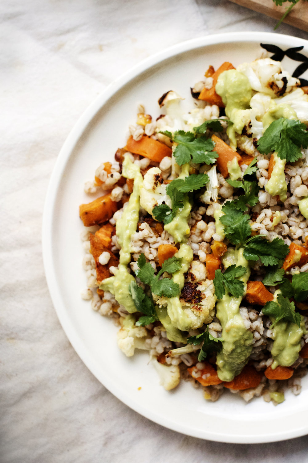 Roasted Sweet Potato, Cauliflower + Barley with Vegan Avocado Corn Crema {vegan} | Ruby Josephine