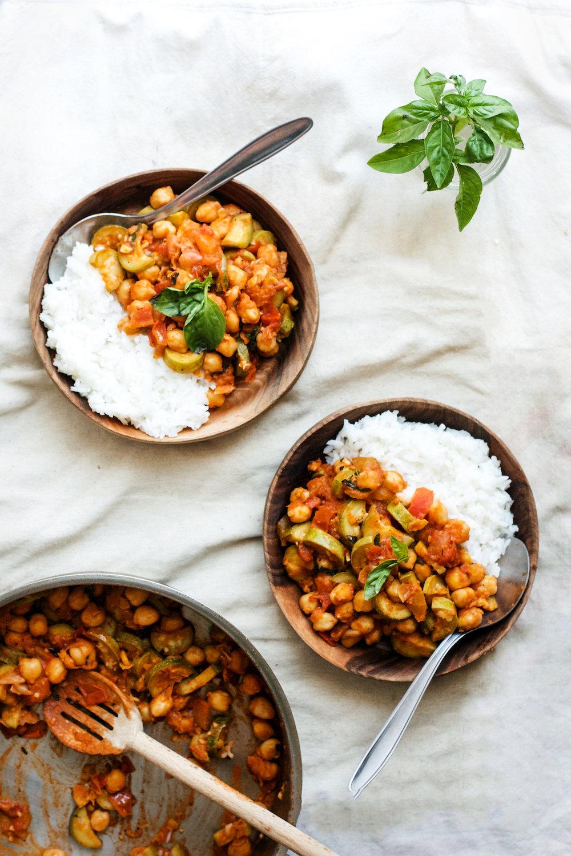 Summer Chickpea, Zucchini + Tomato Basil Stew {vegan + gf} | Ruby Josephine