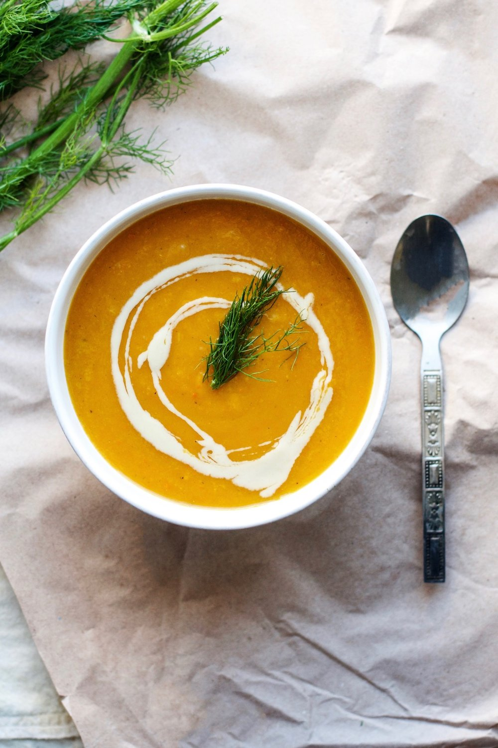 Creamy Carrot, Sweet Potato + Fennel Soup {vegan, gluten-free} | Ruby Josephine