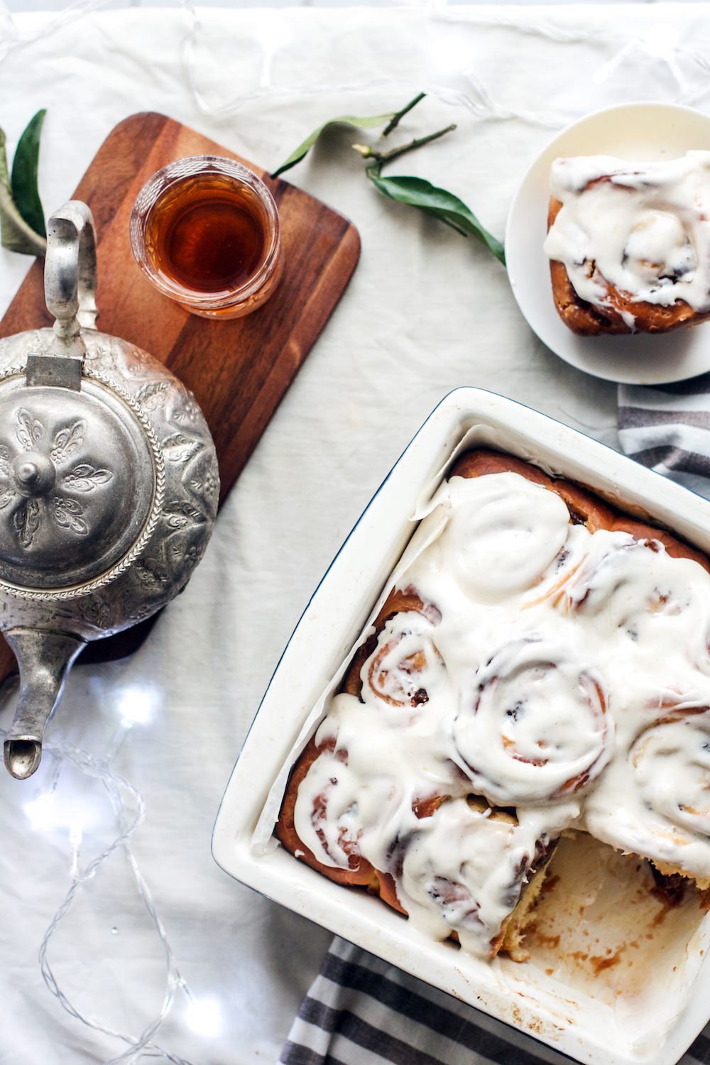 Ma'amoul Cinnamon Buns with Orange Blossom Cream Cheese Frosting | Ruby Josephine