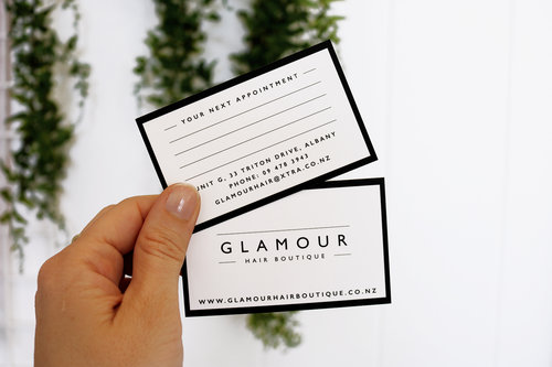 Business cards design by cheyney glamour hair boutique appointment card reheart Image collections