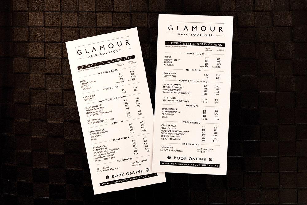 Glamour Hair Boutique Service Menu Design