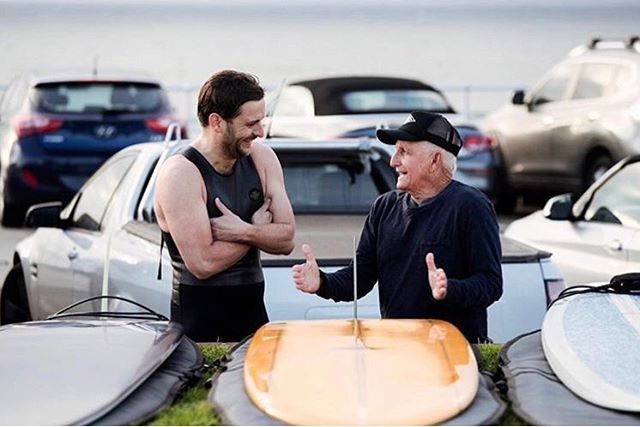 Chatting board design and cock size with Aussie surfing legend Bob McTavish. 📷 @mctavishsurf 😜