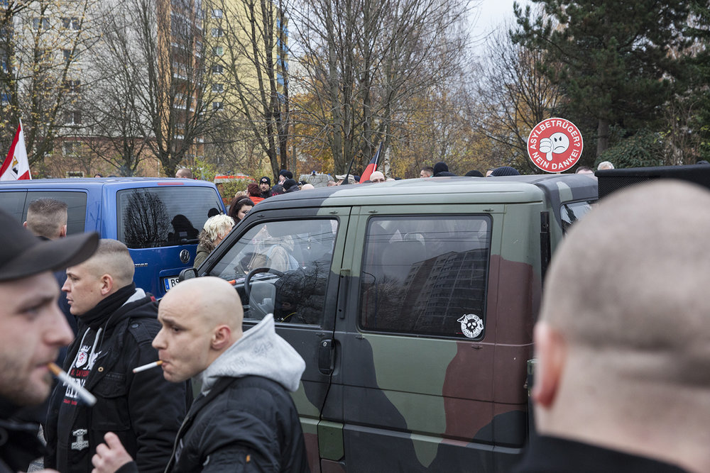 NPD demonstrators gather on the streets of Marzahn to protest against plans to house refugees in the area, 2014.