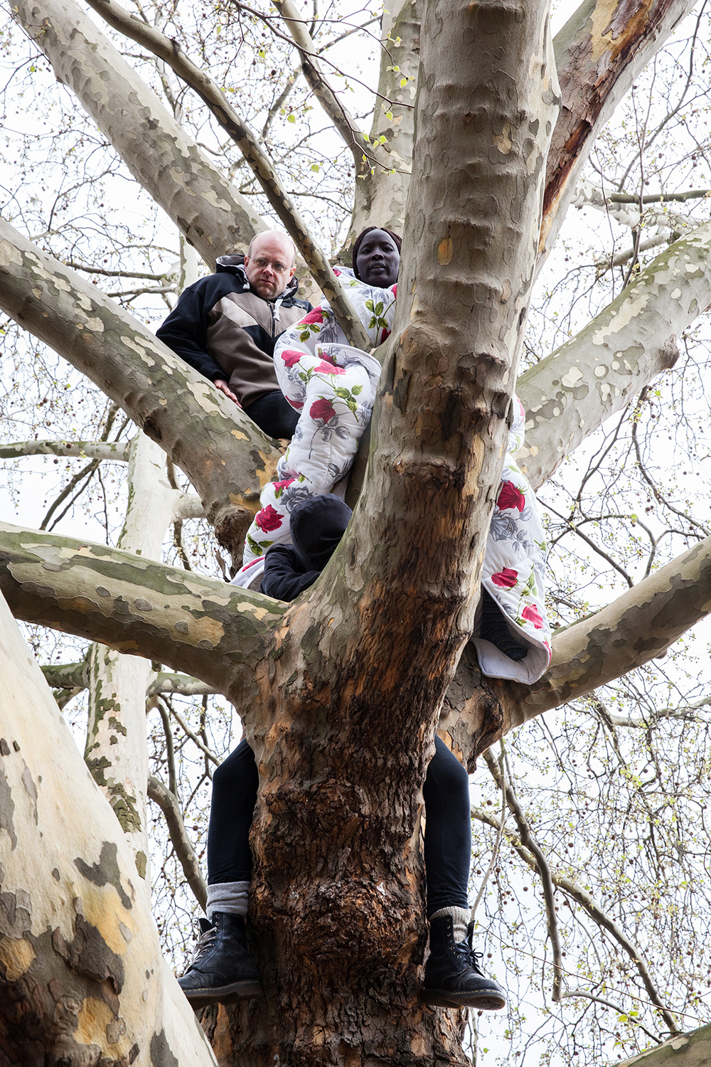 Amir, Ingo and Napuli, an activist and two refugees, climb a tree and start a hunger strike at Oranienplatz. They're protesting the demolition of the camp and the restricted rights of refugees, 2014.