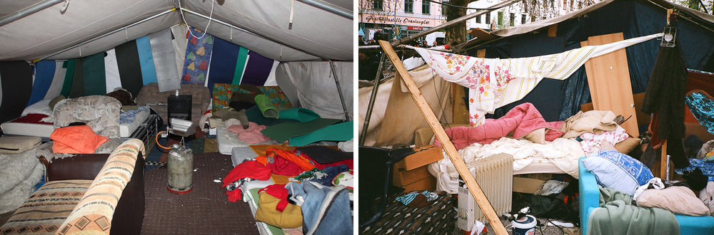 A before (2013) and after (2014) view of separate tents that used to house refugees at Oranienplatz, until they were destroyed by those refugees looking to make a deal with Berlin's integration minister, Dilek Kolat, 2014.