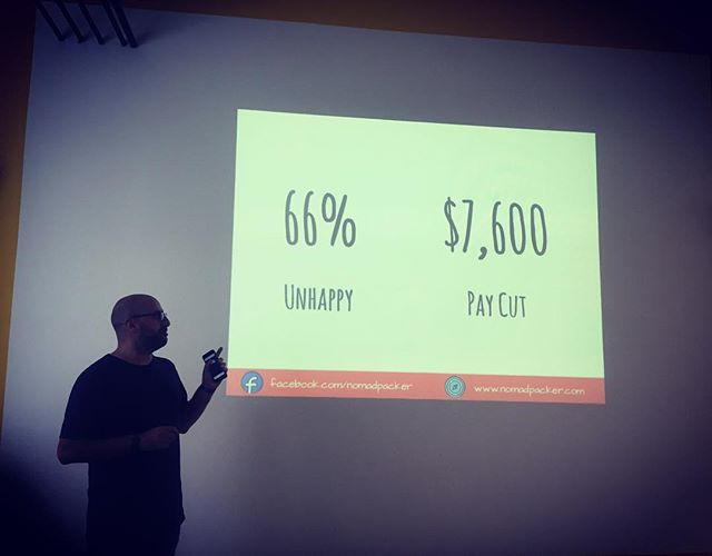 True #DigitalNomad @nomadpacker from MAQTOOB Team explains why the majority of people are not happy in their jobs & willing to take substantial pay cuts to do something more meaningful 🍀 ---- #impacthub #prague #czechia #workshop #travel #career #careerchange #traveling #travelgram #instatravel #travellife #entrepreneurlife #entrepreneurs #startup #startuplife #onthemove #photoaday #picoftheday #iphoneonly