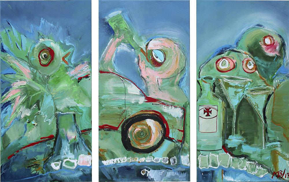 """""""Den Grønne"""" (sæt af tre stk.) 35x70 cm. samlet pris 14.000,-"""