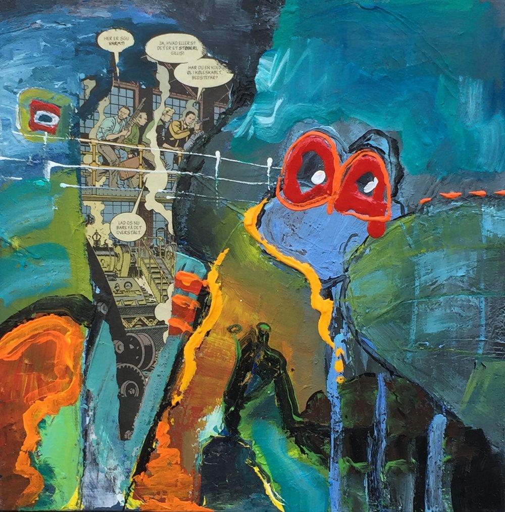 """""""Engle & Basuner 2"""" (Af serie på 2) 30x30 cm. (solgt)"""