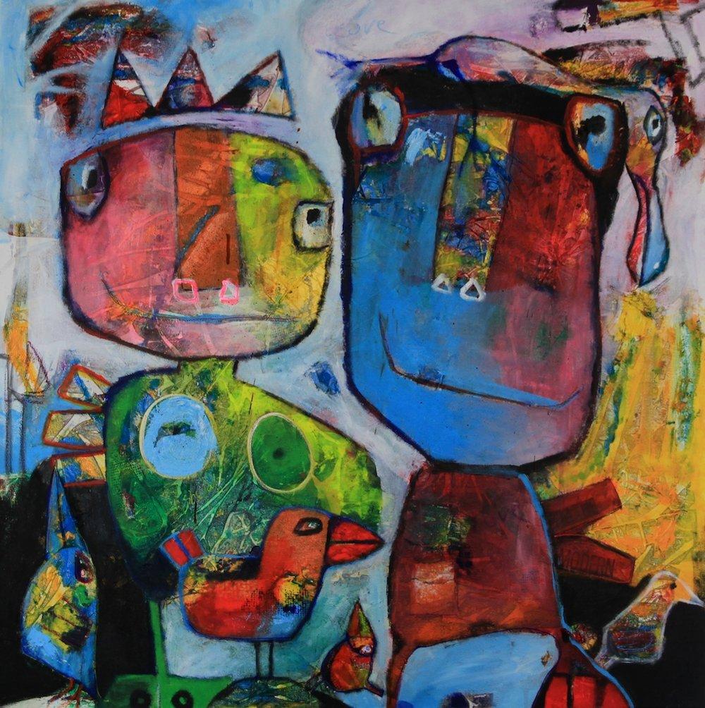Kingdom of Birds - 100 x 100 cm - 2014 - Solgt