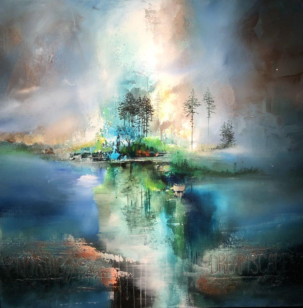 """Nordic Reflections"" - 100x100 cm solgt"