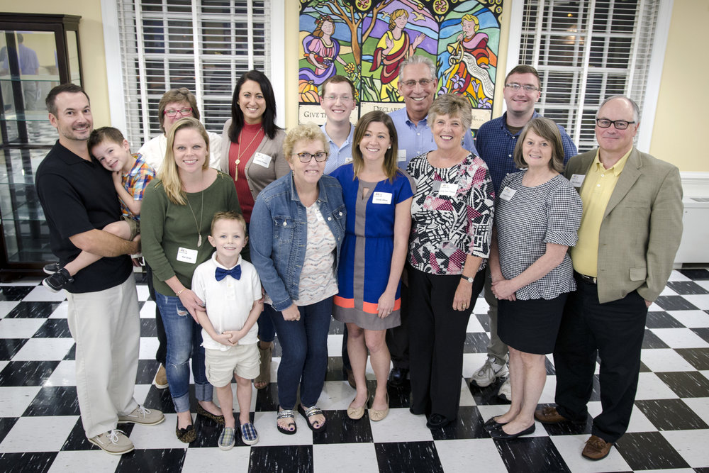 From left: Dan Oros (sons Grant and Blake), Liese Rohr, Kat Oros, Claire Frazier, Lynne Guise, Harrison Smith, Cindy Oliva, Anton Van Thoen, June Van Theon, Alex Long, Leslie Stewart, Dan Stewart