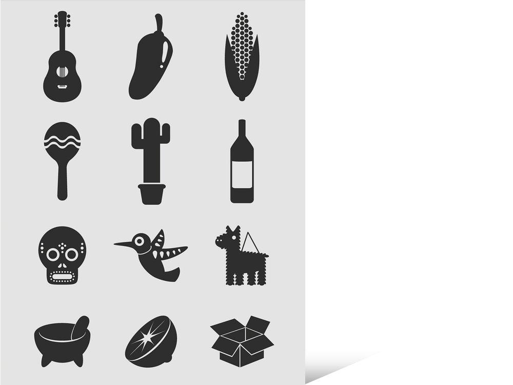 Icons für Hintergründe und die Bewerbung auf Tafeln