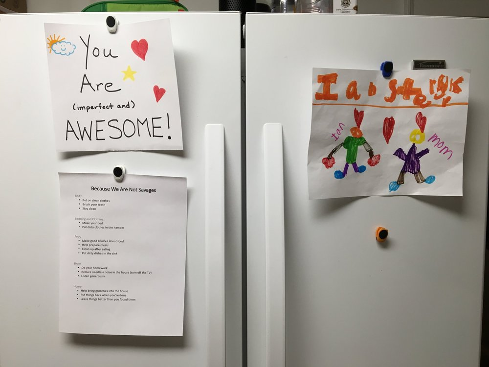 All the essentials on our fridge.