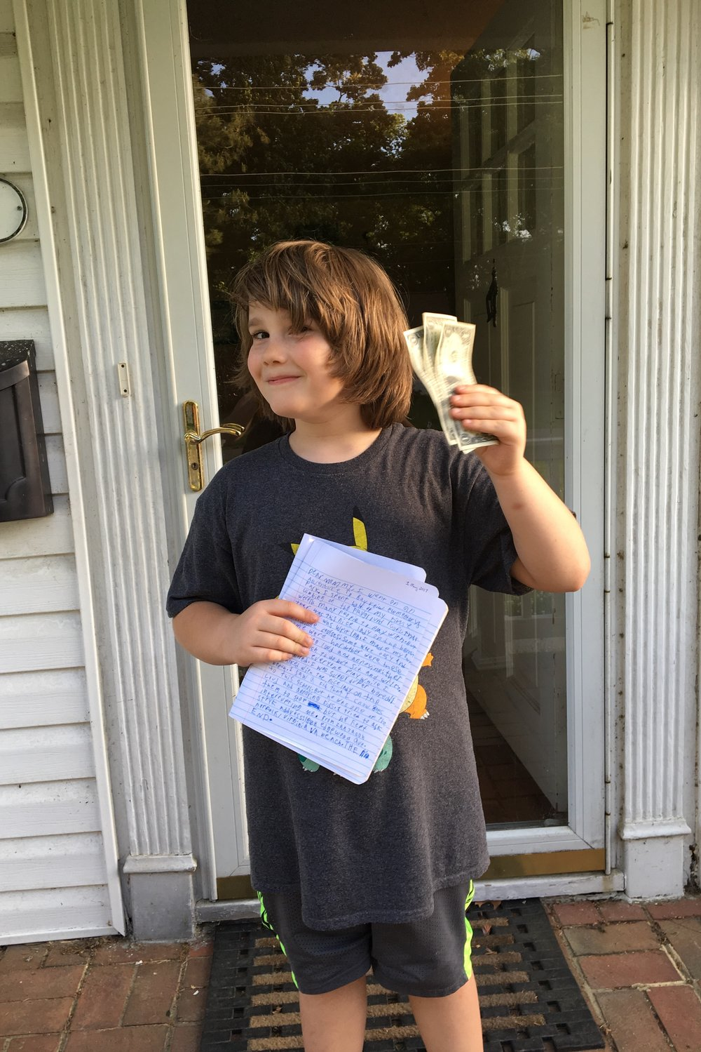 Adventure report filed. $3 in hand! He gave himself an 8/10 score because of his handwriting.