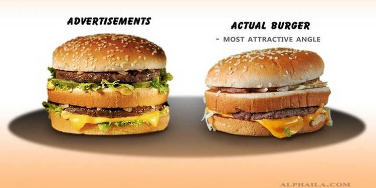 Burger commercial versus reality