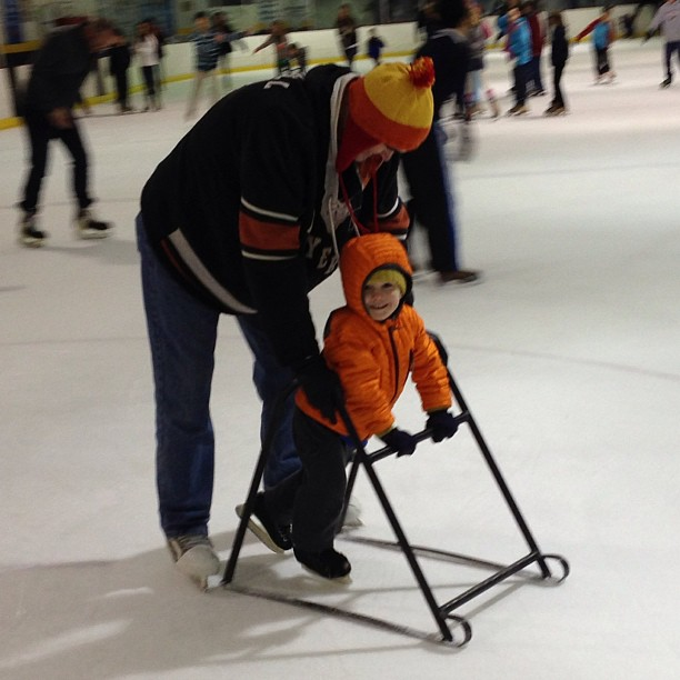 Ian and Rich - December 2012. This was Rich's first time on the ice after the first surgery six weeks prior.