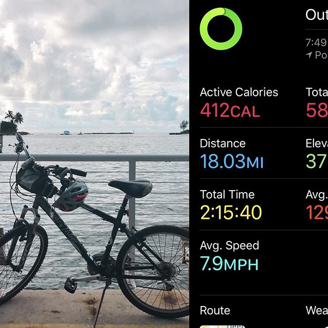 Ok ok so it says average 7.9mph but I swear there were times I was going 18! My longest ride since starting again a week ago! Although those #bloodymarys in #lauderdalebythesea still looked pretty damn good! May have to #rewardmyself 🚴♀️🙌🍹. . . . . #goodtobehome #morningride #helmethairdontcare #pompanobeachmama #gettingbackinshape