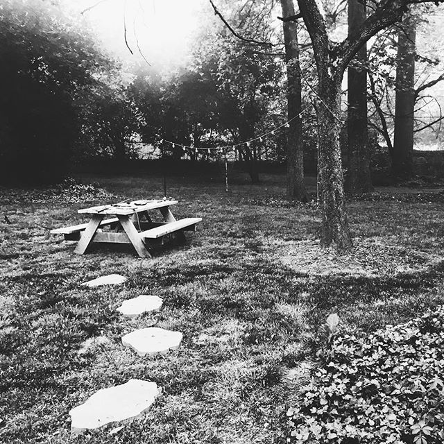 One I took a while back... a favorite from our little #backyardsanctuary in #charlotte 😊😊 will miss this, but not the weather that comes with the fog 😜 #thankgoodnessforflorida #goodtobeme #charlottetoflorida : . . . #backyardlife #fog #picnictable #charlottenc #quiet #iphonography