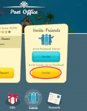 "Step 3 - Select the yellow ""Invite"" button on the ""Invite Friends"" panel"