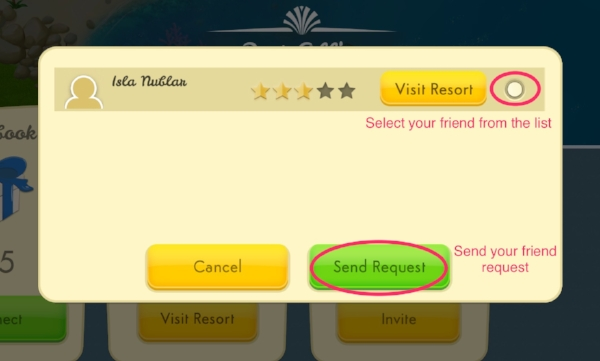Step 5 - Select that player's resort from the list and send them a friend request