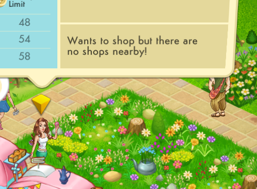 """Selecting this guest and tapping on the """"i"""" info button shows the message that she wants to shop but there are no shops nearby. This will be affecting her happiness."""