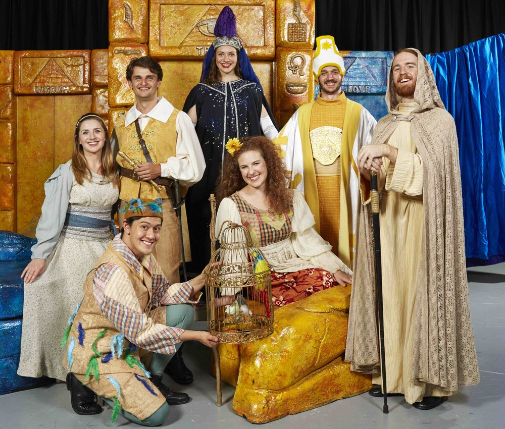 (Back Left to Right): Daniela Leska, Joshua Oxley  , Anna Stephens, Vincent Farrell and Liam Headland.  (Front Left to Right):  Ryan O'Donnell and Olivia Cranwell in Opera Australia's 2018 Schools Tour production of The Magic Flute. Photo credit: Keith Saunders