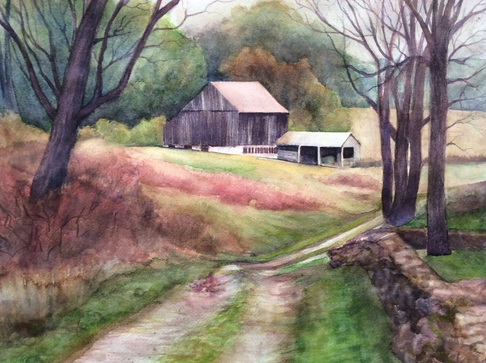 Antietam Barn  in watercolor, 2016