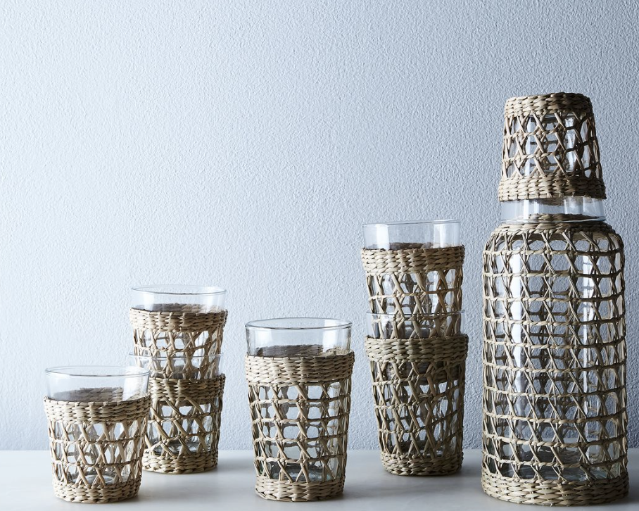 Seagrass Carafe & Tumblers, $26-&52