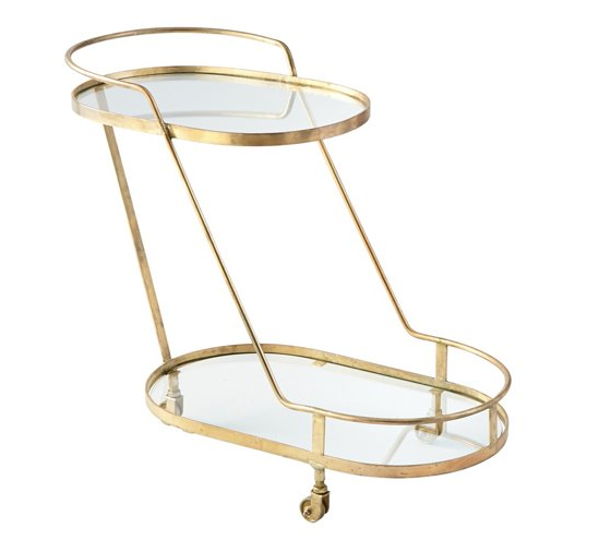 Rounded brass cart, $899.