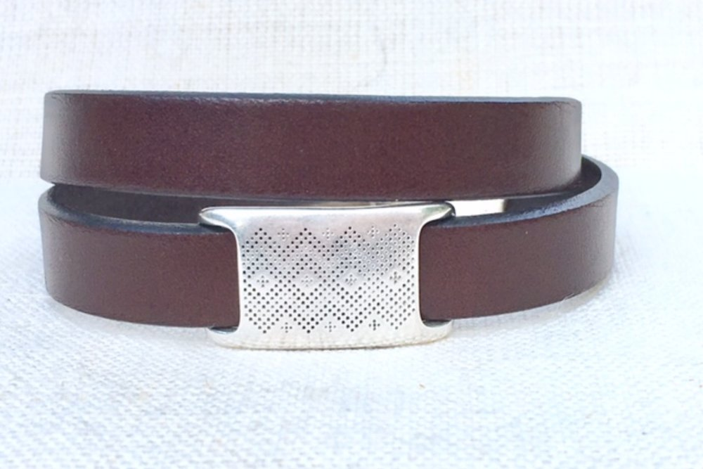 Double Wrap Brown Leather with Textured Slider.jpg