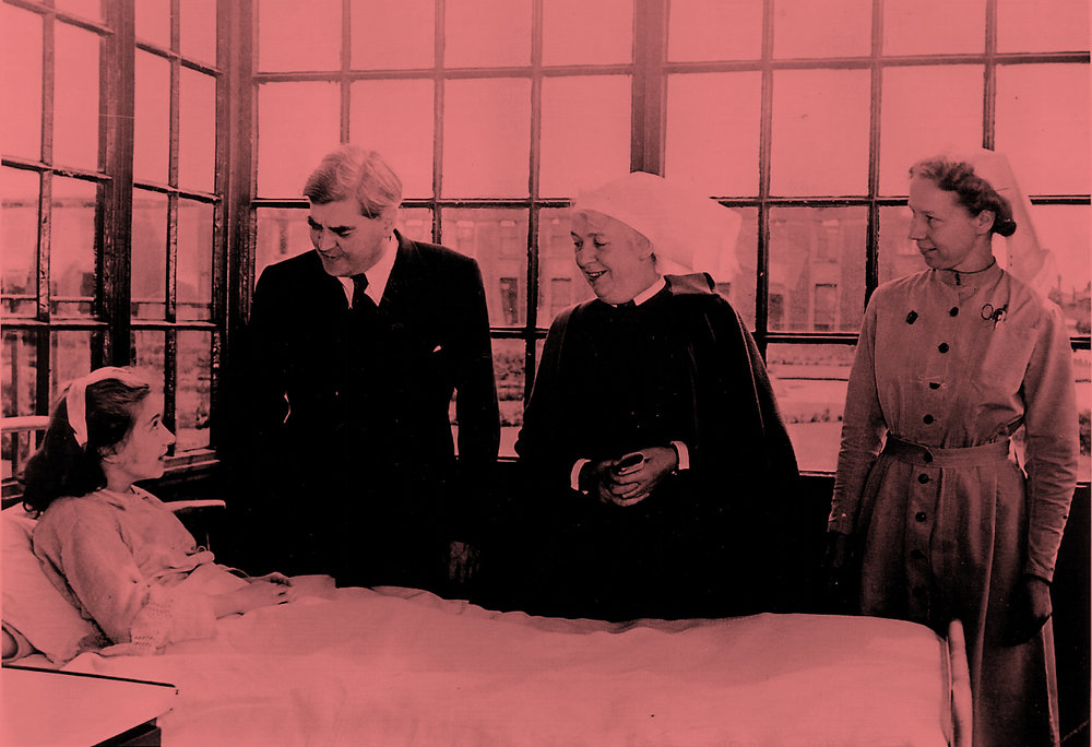 Anenurin Bevan, Minister of Health, on the first day of the National Health Service, 5 July 1948 at Park Hospital, Davyhulme, near Manchester.